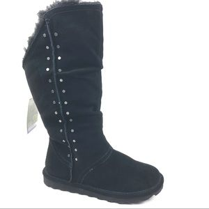 BEARPAW Florence boots 9 black suede studs pull on